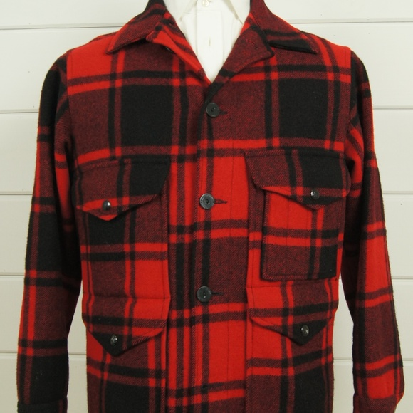 9de591503613a VTG Pendleton Buffalo Check Makinaw Wool Coat M